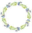 watercolor wreath green leaves and vector image vector image