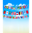 World bunting flags on blue sky vector image vector image