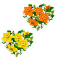 yellow and orange bouquet of flowers heart shape vector image vector image