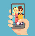 young couple woman man taking selfie photo vector image vector image
