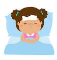 little sick girl sleep in bed vector image