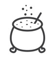 witch cauldron line icon halloween and scary vector image