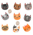 9 cute cats vector image vector image