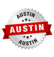 Austin round silver badge with red ribbon vector image vector image