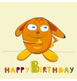birthday card with happy rabbit vector image vector image