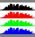 black red green and blue sityscape silhouette vector image vector image