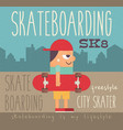 boy with skateboard vector image vector image