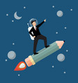 businessman astronaut on pencil rocket vector image vector image