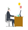 businessman at party celebratory cap and party vector image vector image