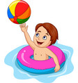 cartoon boy playing inflatable circle vector image vector image