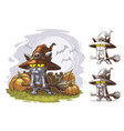 cartoon funny halloween with witch broom vector image
