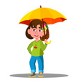 cheerful child with yellow umbrella in the rain vector image