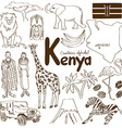 Collection of Kenya icons vector image