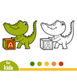 coloring book crocodile and cube vector image vector image
