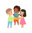 cute smiling multicultural little kids holding vector image vector image