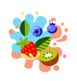 different bright berries on abstract color vector image vector image