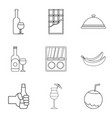 drinking evening icons set outline style vector image vector image