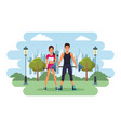 fit couple doing exercise vector image