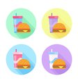 Flat icons set with tasty hamburger and soda drink vector image vector image