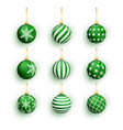 green christmas balls isolated on white set vector image vector image