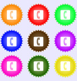 handset icon sign A set of nine different colored vector image
