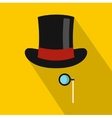 Hat with monocle icon flat style vector image vector image