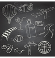 Icons travel on blackboard vector image vector image