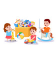 kid playing with toys children and box with toy vector image vector image