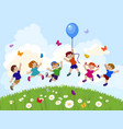 kids jumping vector image