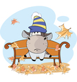 little cow and falling leaves Cartoon vector image vector image
