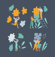 man and woman characters connecting puzzle pieces vector image vector image