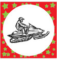 man is engaged in snowmobile vector image vector image