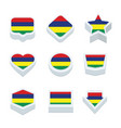 mauritius flags icons and button set nine styles vector image