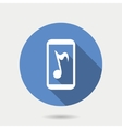 Mobile gadget icon mobile with musical note in