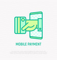 mobile payment hand puts out credit card vector image vector image