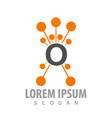 molecule orange letter o concept design symbol vector image vector image