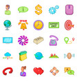 network connection icons set cartoon style vector image