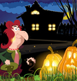 Old witch near the house vector image vector image