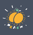 peach icon on dark vector image vector image
