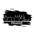 prague skyline silhouette hand drawn sketch vector image vector image