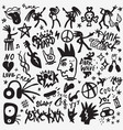 rock music doodle set design elements vector image