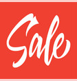 sale hand inscription on a red background vector image vector image