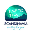 scandinavia travel badge isolated on white label vector image vector image