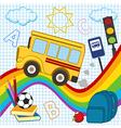 school bus travels over rainbow vector image vector image