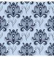 Seamless paisley styled blue flowers pattern