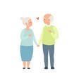 senior man and woman walking together holding vector image vector image