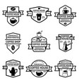 set of coffee shop emblems design elements for vector image