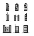 set of modern office tall building for icon vector image