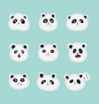 set stickers or emoticon faces panda flat vector image