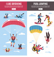 skydiving banners set vector image vector image